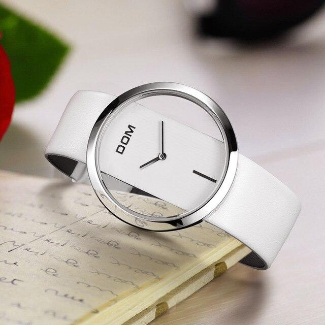 Delle Donne della vigilanza DOM marchio di lusso di Modo Casual al quarzo Design Unico Alla Moda Hollow scheletro orologi in pelle Della Signora di sport orologi da polso 205L