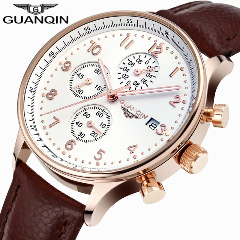relogio masculino GUANQIN Mens Watches Top Brand Luxury Chronograph Luminous Clock Men Sport Leather Quartz Watch montre homme
