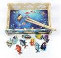 Nueva Preescolar Niños Divertidos De Madera de Pesca Magnética Juguetes de Mesa, Mini Cangrejo Océano, Los Padres y Los Niños Educación Puzzle Juego