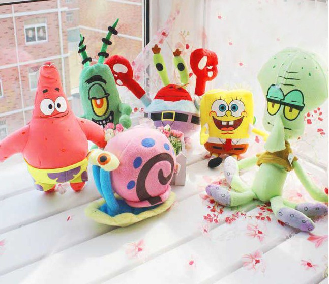 Cute soft plush Spongebob,Patrick star, Anime toys best gift for children Wholesale free shipping free shipping 23cm special offer pikachu plush toys high quality very cute plush toys for children s gift