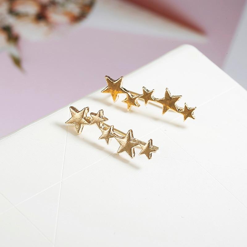 Лунная звезда, уши альпиниста, крошечная звезда, Луна, серьги-гвоздики для женщин, на каждый день, для подростков, День матери, подарок на день рождения, ювелирное изделие, серьги - Окраска металла: gold
