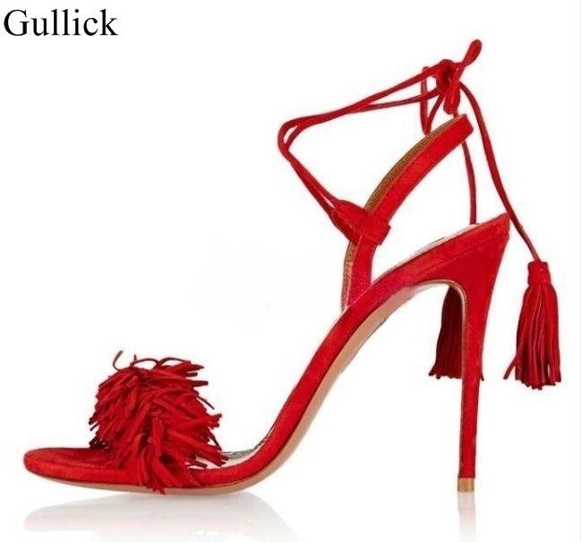 Fashion Big Red Fringe High Heel Sandal Fluffy Lace-up Tassel Gladiator Sandals For Women Summer Dress Shoes Real Photo big red t42001c