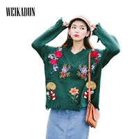 WEIKADUN Autumn Winter Women Thick Sweater Floral Tassel Embroidery Long Sleeve Loose Knitted Pullovers Tops Student
