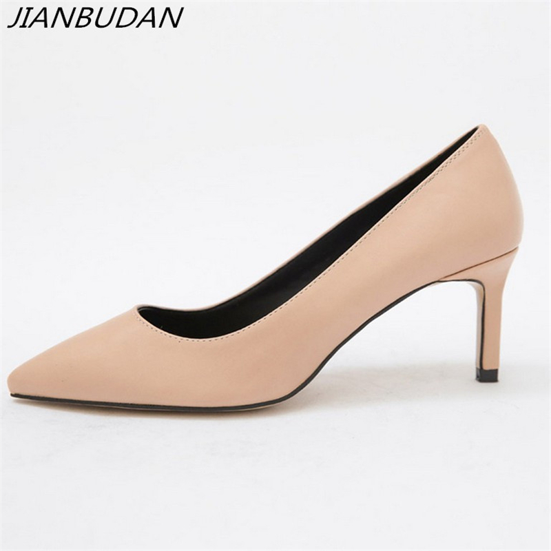 JIANBUDAN / Elegant temperament womens office shoes OL professional high heels Shallow comfort Workplace pumps 34-40