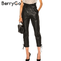 BerryGo Lace Up Black Leather Pants Women Autumn Winter 2017 Sexy Paperbag High Waist Trousers Belted