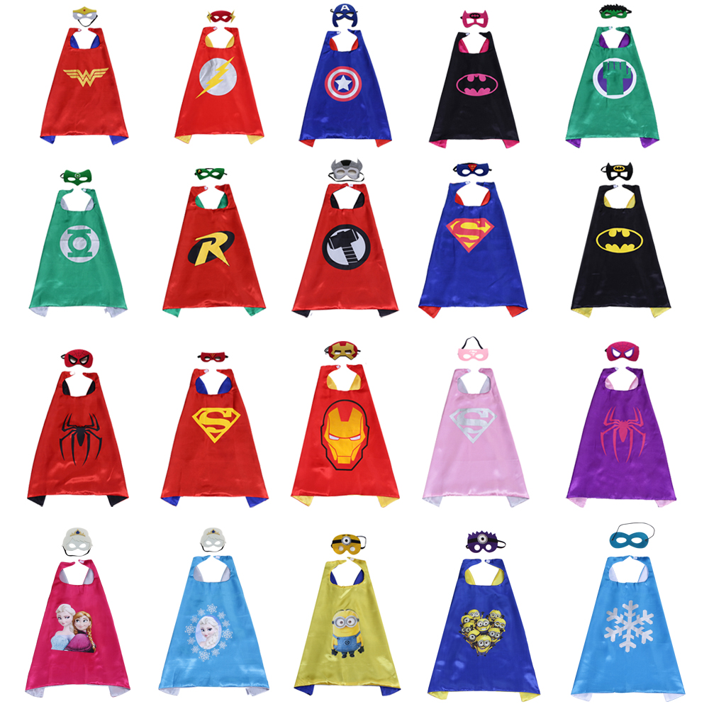 70*70cm kids cosplay cosutmes Children's birthday party Halloween cosplay Kids Superhero capes and masks set Free shipping