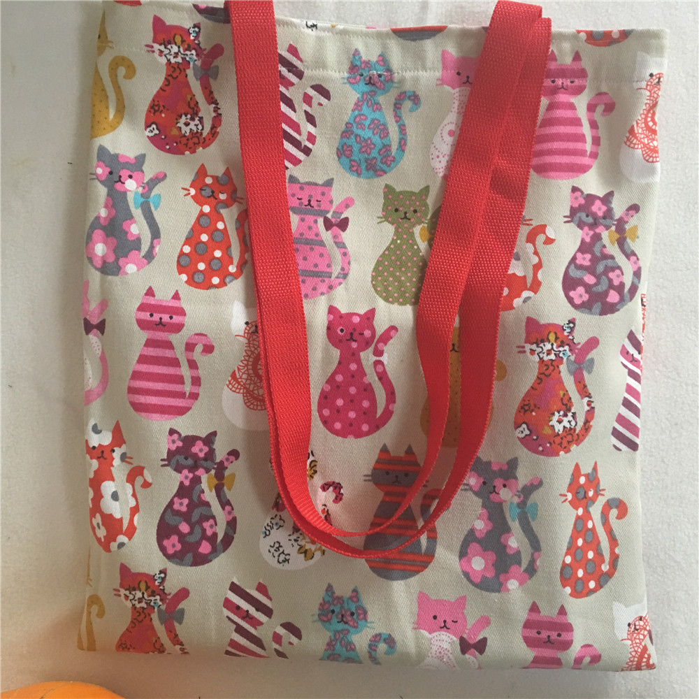 Handmade Canvas Eco Shopping Tote Shoulder Bag Print Colorful Cat Red Strap L18105e