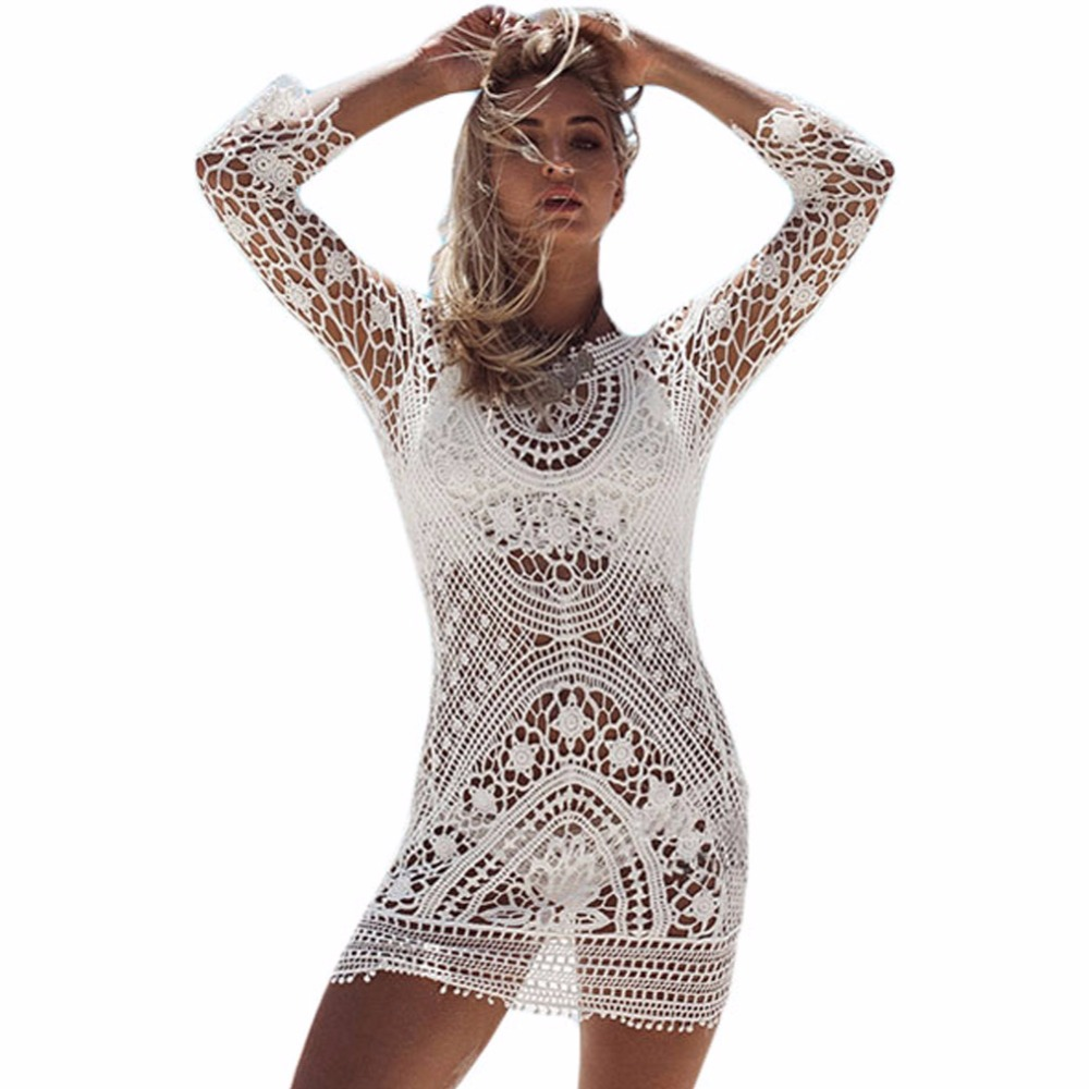 FGirl Ukraine Women Summer Dress 2017 Sexy Female Sheer Crochet Open Back Beachwear Beach Dress FG50064