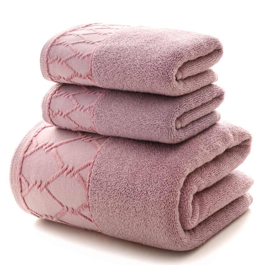 Luksusowy ręcznik 3 szt. Zestaw 1 szt. Duży ręcznik kąpielowy dla dorosłych/2 szt. Ręczniki do twarzy 100% bawełna gruba miękka woda szybkoschnący Toalla Playa