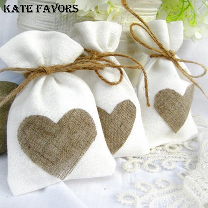 10Pcs Red Heart Linen Burlap Drawstring Candy Gift Christmas Favor Bags Pouches