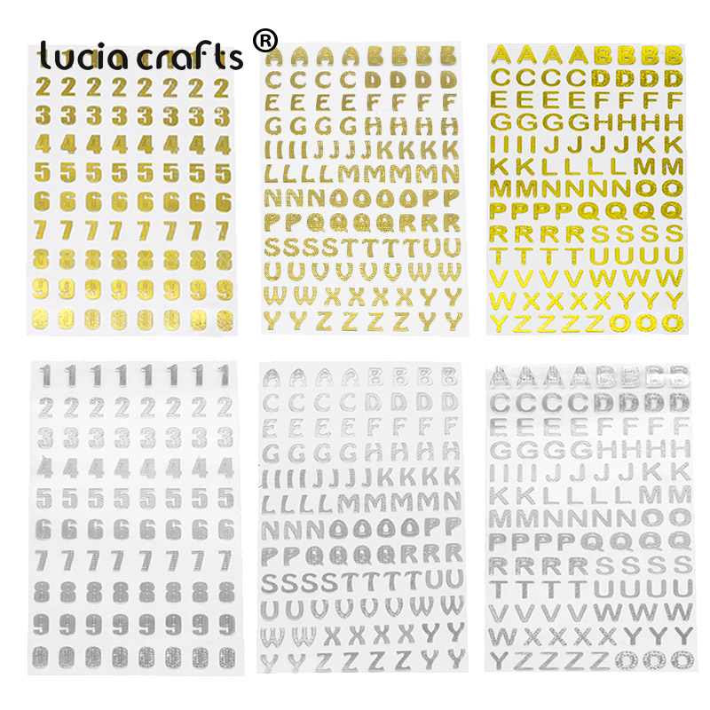 Lucia Crafts 3sheets/lot 21.5*10cm Silver/Gold Digital Letter Numbers Decorative Sticker For Scrapbooking DIY Crafts I0402