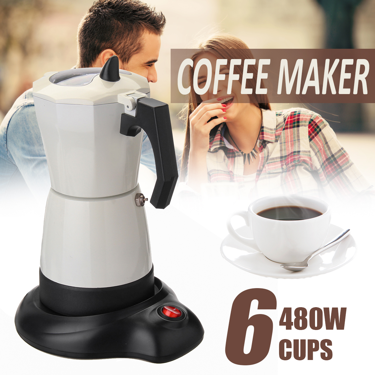 5 Minutes Electric Tea Coffee Maker Pot 6 Cups Espresso Machine Mocha Removable Coffee Tea Pot Kitchen Tool Home Office