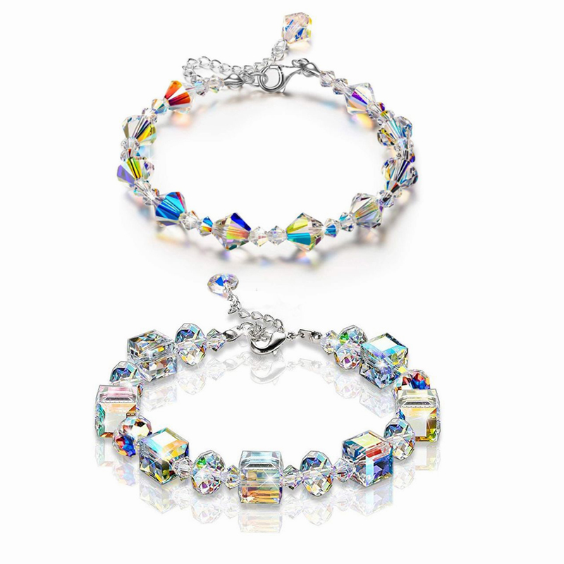 Luxury Exquisite Aurora Square Geometric Polygon Bead Crystals Bracelet Women Females Tennis Bracelet Charm Jewelry Accessory 4