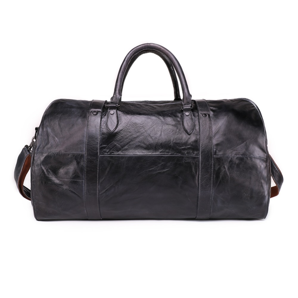 Genuine Leather Men s Travel Bag Hand Luggage Duffle Bag Packing Cubes Shoulder Sports Suitcase Big