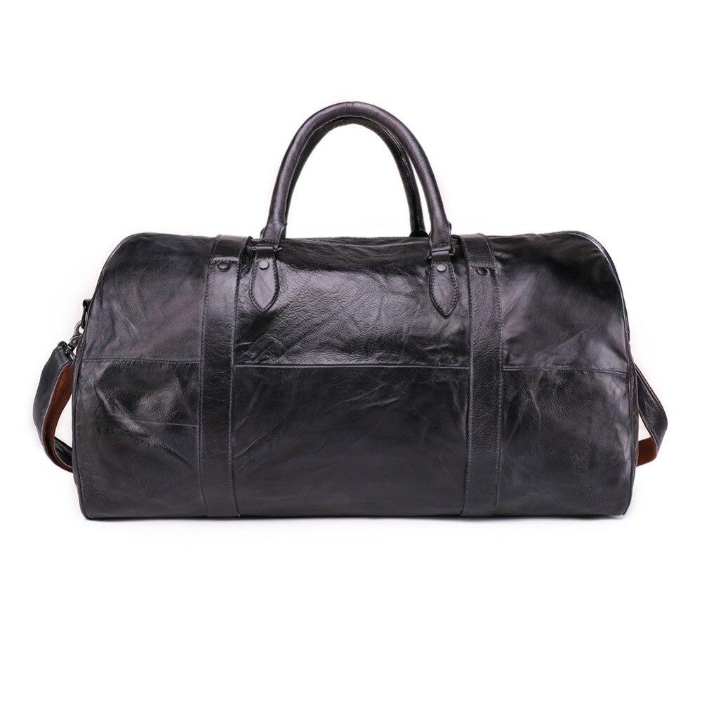 Sac de voyage pour hommes en cuir véritable bagage à main sac de sport emballage Cubes épaule valise de sport grand fourre-tout sac de week-end Reisetasche