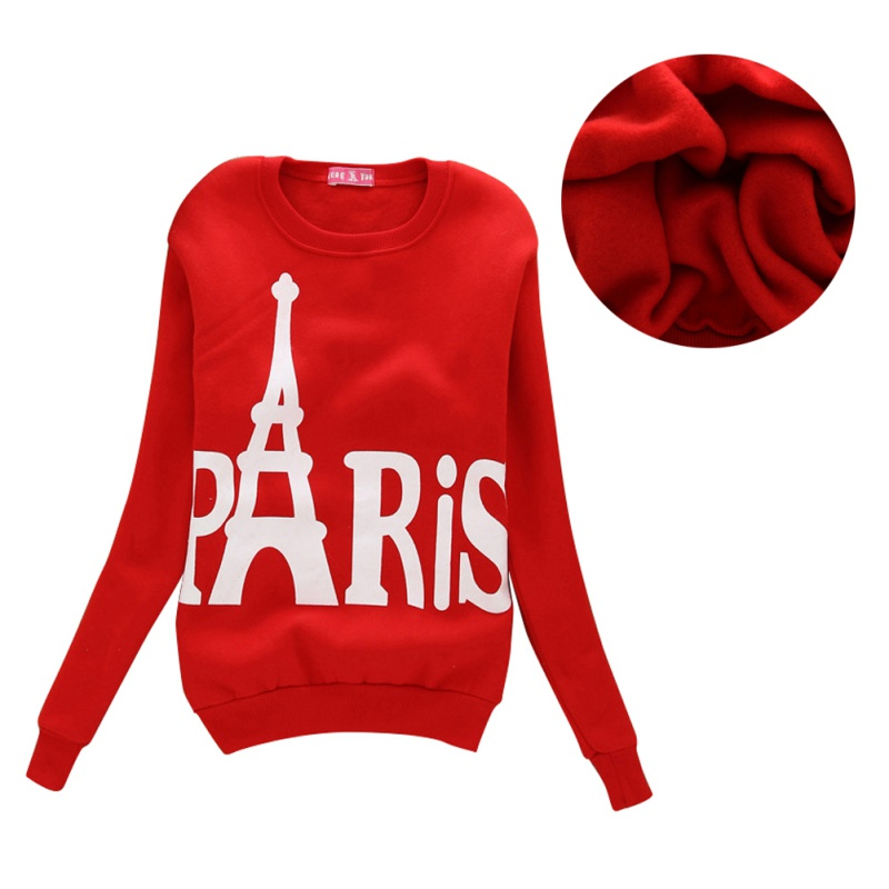 Autumn/Winter Women Hoodies Paris Tower Printed Long Sleeve Tracksuit Outerwear Hooded Sweatshirt Top Moletom Feminino B3