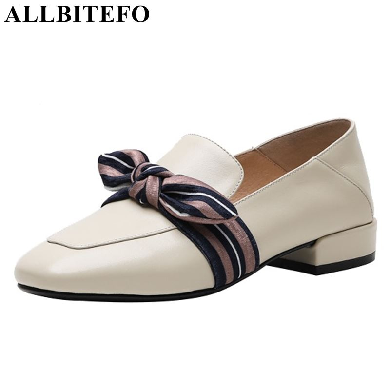 ALLBITEFO noval genuine leather women heels high heel shoes square toe butterfly knot spring comfortable ladies shoes woman