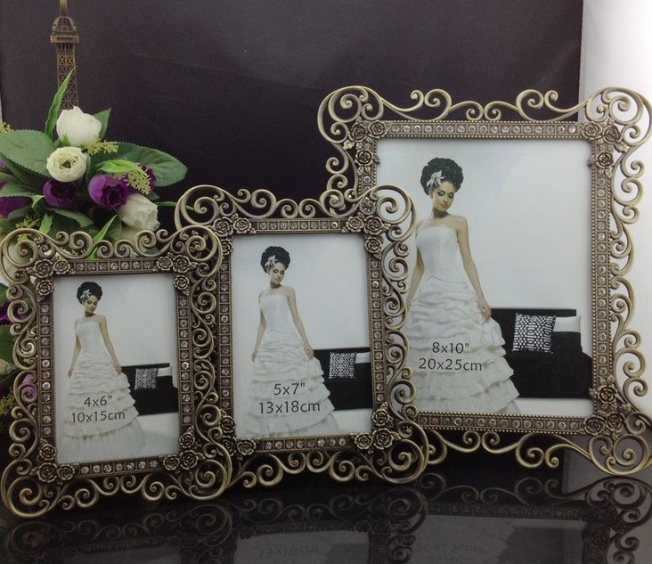 Luxury 4X6 5X7 8X10 Set Ornate Rectangle Zinc Metal/Glass Picture ...