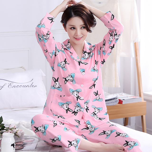 e328abb083 HOt Sale 2017 Autumn   Winter Cotton Pyjamas Women Pajama Sets Cartoon  Sleepwear Femme Pajamas For Women Long-Sleeved Tracksuit