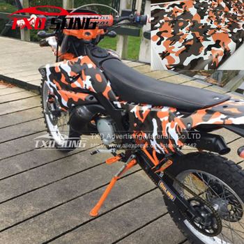 Premium digital Orange Camouflage Vinyl Film Foil Car Wrap With Air Bubble Free Vehicle Motorbike Scooter Decal Sticker Wrapping