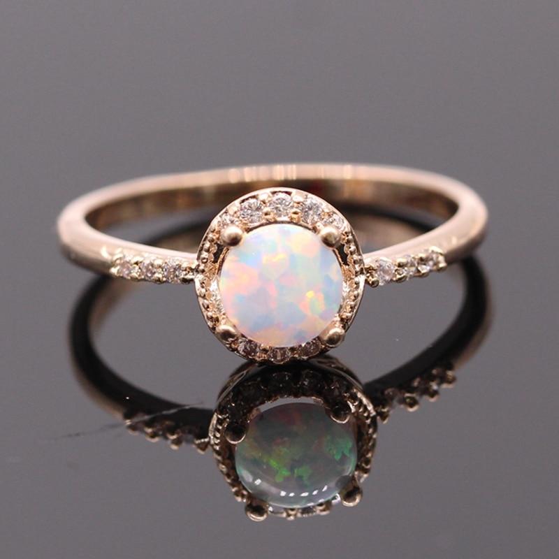 Beautiful Cute Simple Round Jewelry White Fire Opal Gold ...