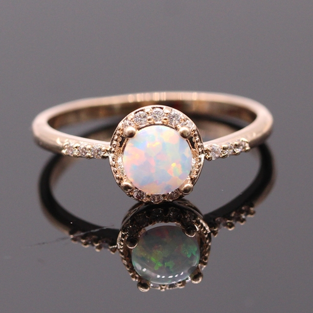 GZJY Beautiful Cute Simple Round Jewelry White Fire Opal Zircon Champagne Gold Color Ring For Women Wholesale
