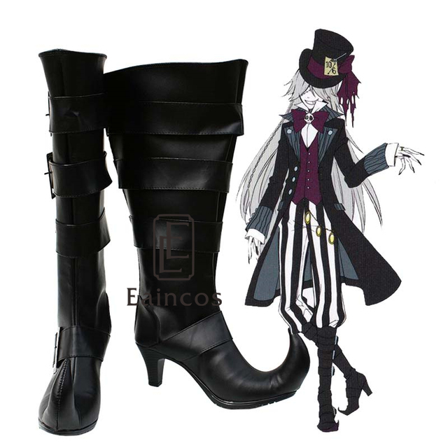 Anime Black Butler Kuroshitsuji Undertaker Cosplay Shoes Fancy High Boots Custom Made