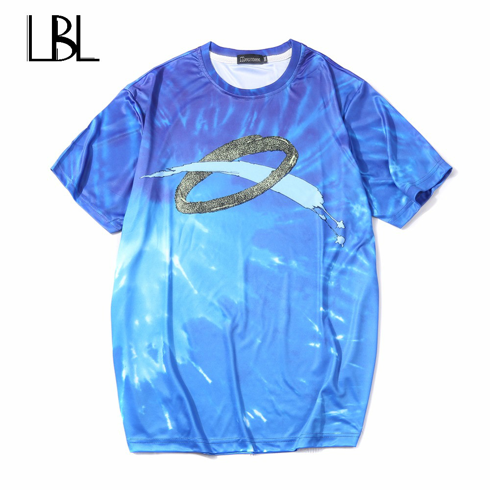 Europe Size Men T Shirt Fitness Camisetas 2018 Famous Brand T-Shirt Men Luxury 3D Milky Way Hip Hop T Shirt Men Cotton Tshirt