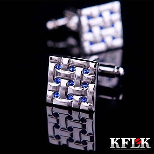 KFLK 2018 De Luxe NOUVELLE Marque manchette boutons gemelos Bleu boutons De manchette En Cristal de Haute Qualité abotoadura chemise bouton de manchette pour hommes Bijoux