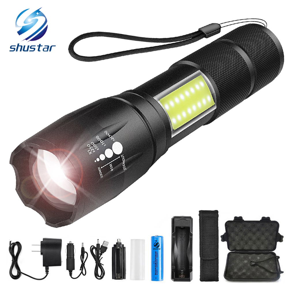 LED flashlight side COB lamp design T6/L2 8000 lumens Zoomable torch 4 light modes for 18650 battery + charger +gift powerful led flashlight t6 l2 8000 lumens led torch waterproof flashlight 3 modes zoomable led torch use 26650 18650 battery