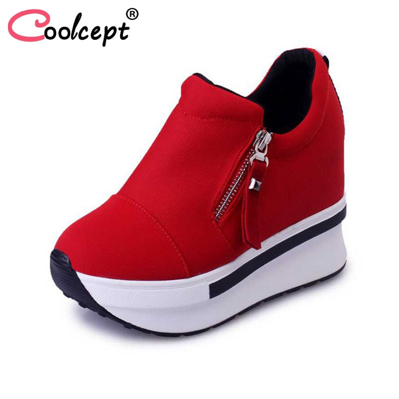 Coolcept Women Spring Autumn Fashion Platform Shoes With Zip Casual Sweet Sneakers Shallow Women Shoes Size 35-40 spring autumn fashion platform shoes casual sweet sneakers shallow women shoes size 34 43