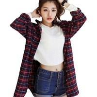 2015 New Zanzea Spring Autumn Women Classic Boyfriend Red Plaid Shirts Casual Loose Long Blouse Tops