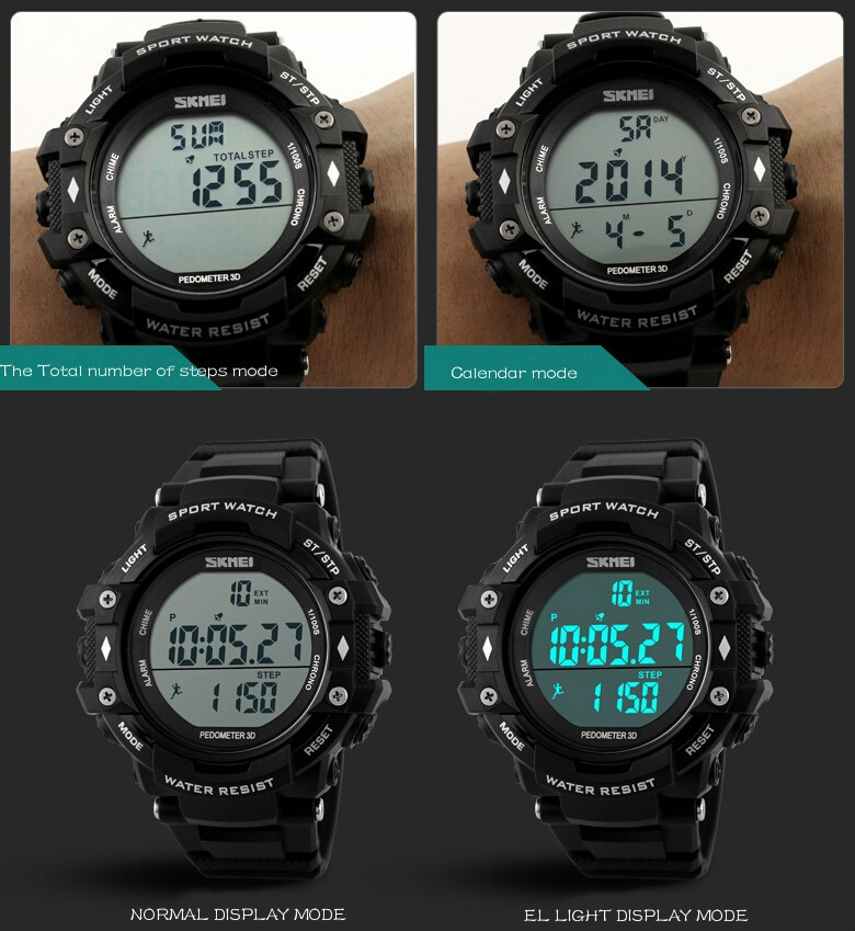 bf5de82485a Pedometer Sports Watches Men Led Digit Watch Clocks Dive Military  Wristwatch Relogio Masculino New 2016 Skmei 1128 Reloj Hombre-in Digital  Watches from ...