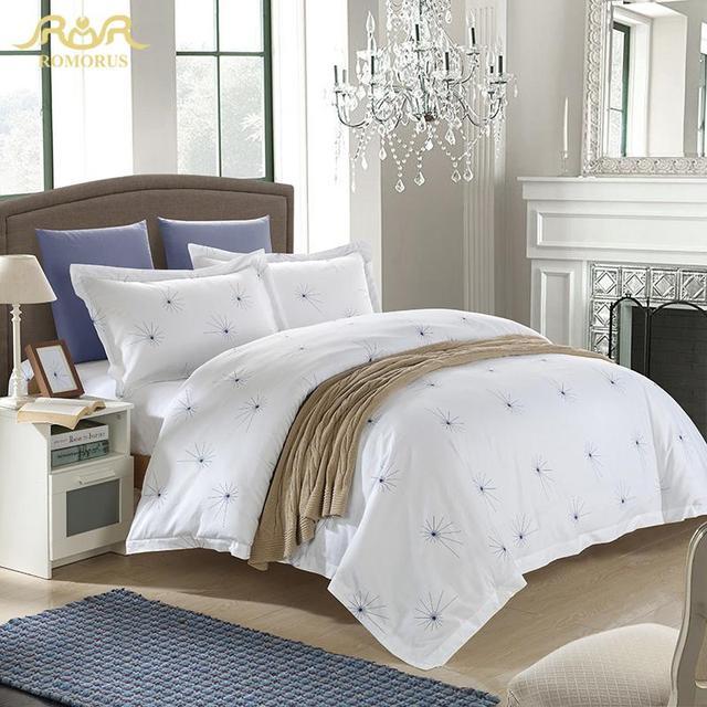 3f9fe0542ea7e7 ROMORUS Mooie Hotel Stijl Beddengoed Set 100% Katoen Wit Hotel  Dekbedovertrek Set Elegante Paardebloem Bed