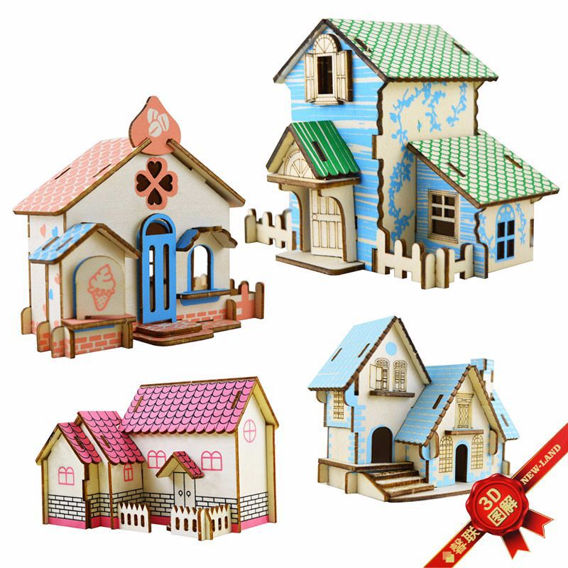 DIY 3D Mode House Toys Kits Romantic House Wood Puzzles Education Toy Model Building Wooden 3D Puzzle for Kids and Adults ds381b wooden 3d army puzzle toy model anti air vehicles diy assemble toys boys free shipping usa brazil