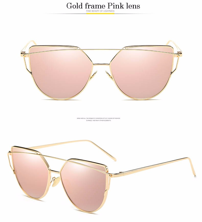 2017 Brand Retro Cat Eye Sunglasses Women Vintage Fashion Rose Gold Mirror Eye Glasses Unique Flat Ladies Eyewear Oculos UV400 22
