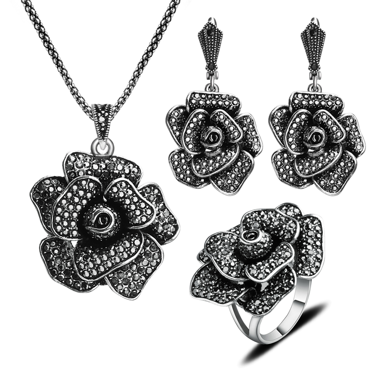 New Fashion Antique Jewellery Silver Plated Vintage Big Flower Jewelry Set With Black Crystal Necklace Earrings