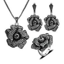 Nueva Moda de Joyería de Plata Antiguo Plateado Vintage Grande de La Flor Joyería Conjunto Con Negro Anillo Aretes Collar de Cristal Conjuntos