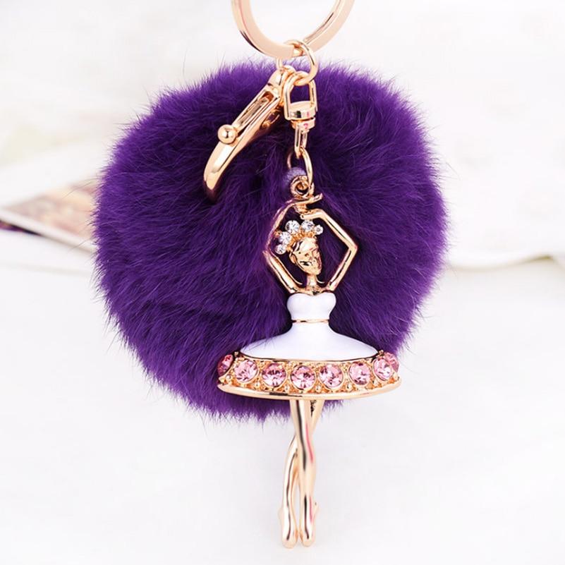 Hot Sale Ballerina Rabbit Pom Pom Fur Ball Keychain Crystal Ballet Dancing Girl Metal Car Key Chain For Women Bag Charm Keyring
