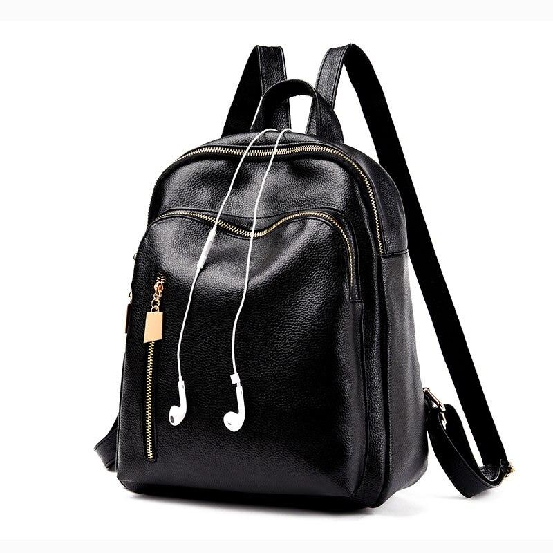 PU Women Backpack Leather Backpack with Earphone Holes Men Female Office Ipad Books Shoulder Bag mochila Girls Travel Daypack Ba