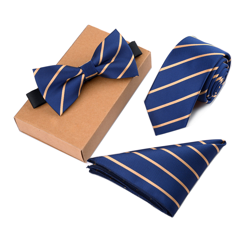 RBOCOTT Men's Tie Set Necktie Handkerchief and Bowtie Set 6cm Slim Tie Solid Skinny Ties For Wedding Dot Striped Tie 3pcs No Box