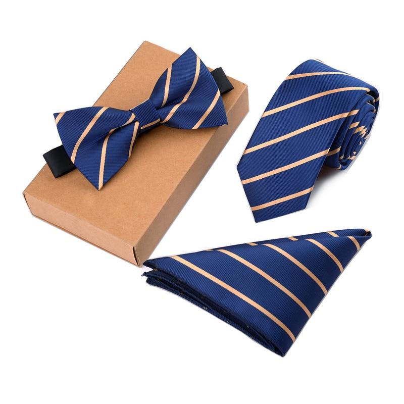 RBOCOTT Men's Tie Set Necktie Handkerchief And Bowtie Set 6cm Slim Tie Solid Skinny Ties For Wedding Dot Striped Tie 3pcs No Box