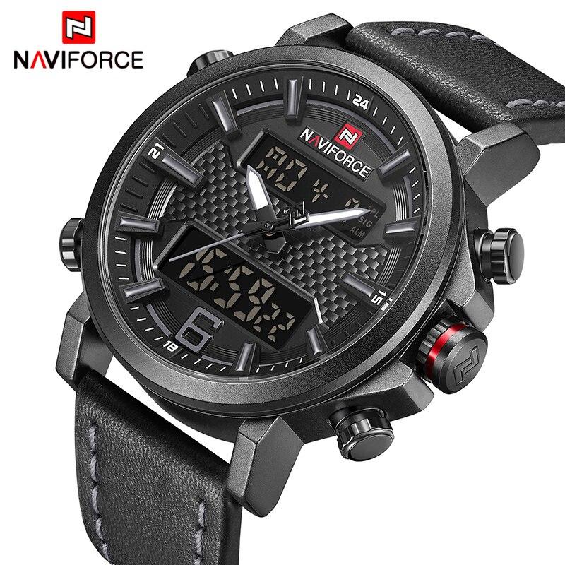 Top Luxus Marke NAVIFORCE Herren Sportuhren Männer Quarz Led-digitaluhr Männer Mode Leder Wasserdicht Military Armbanduhr