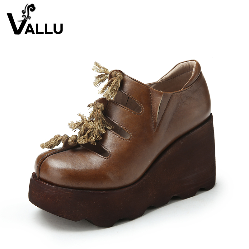 Leather Pumps Shoes Woman 2017 Genuine Leather Platform High Heels Shoes Cut Out Fringe Handmade Vintage Casual Women Wedge Shoe nayiduyun women genuine leather wedge high heel pumps platform creepers round toe slip on casual shoes boots wedge sneakers