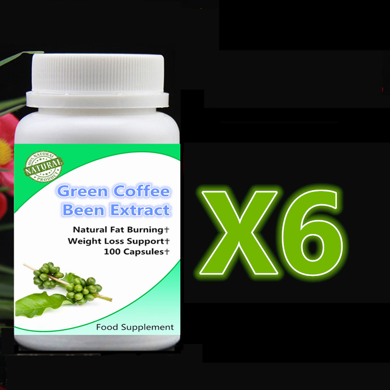 6 bottle 600pcs Pure Green Coffee Beans Extract ,Fat Burning Weight Loss & Slimming Support,Curbs Appetite, All Natural,Non-GMO natural weight loss slimming dietary supplement lotus leaf extract