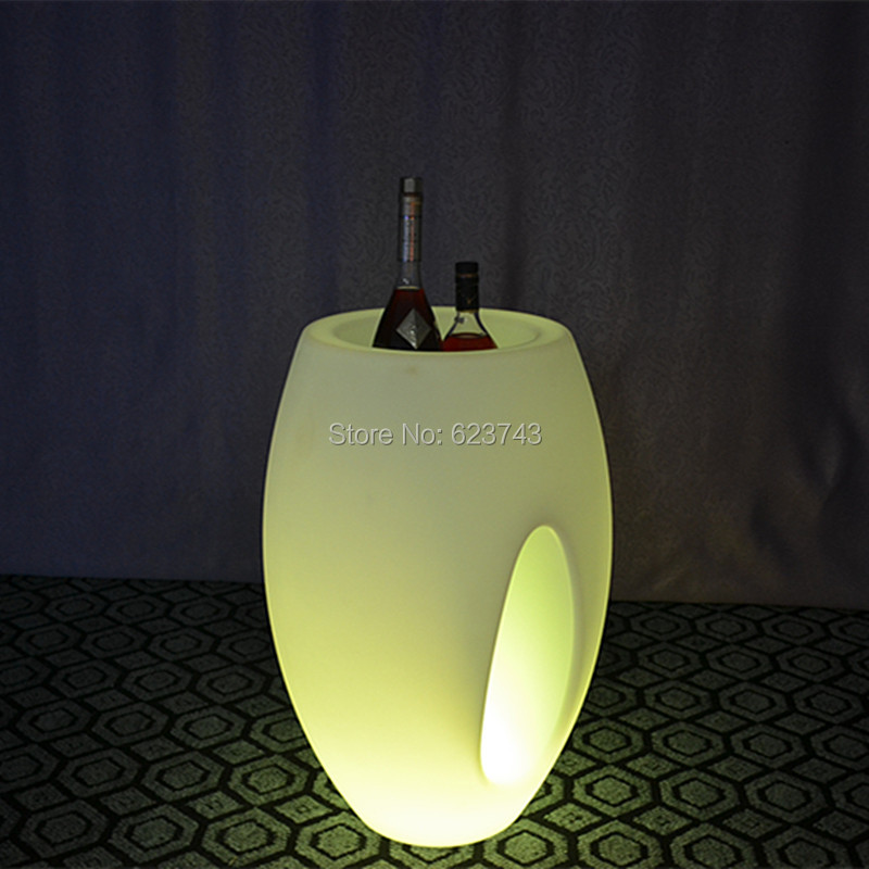 2 Pieces/lot Remote Control Colorful Big LED Illuminated Ice Bucket/led Luminous Flower Pot Of Indoor Illuminated Furniture