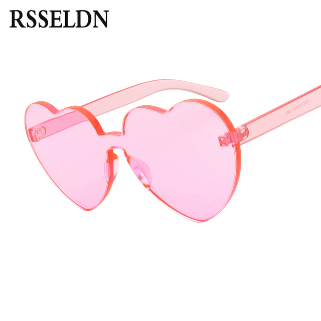 7b2b08dff6 RSSELDN Love Heart Shape Sunglasses Women 2019 Rimless Frame Clear Candy  Color Sun Glasses Ladies Red Pink Yellow Shades UV400
