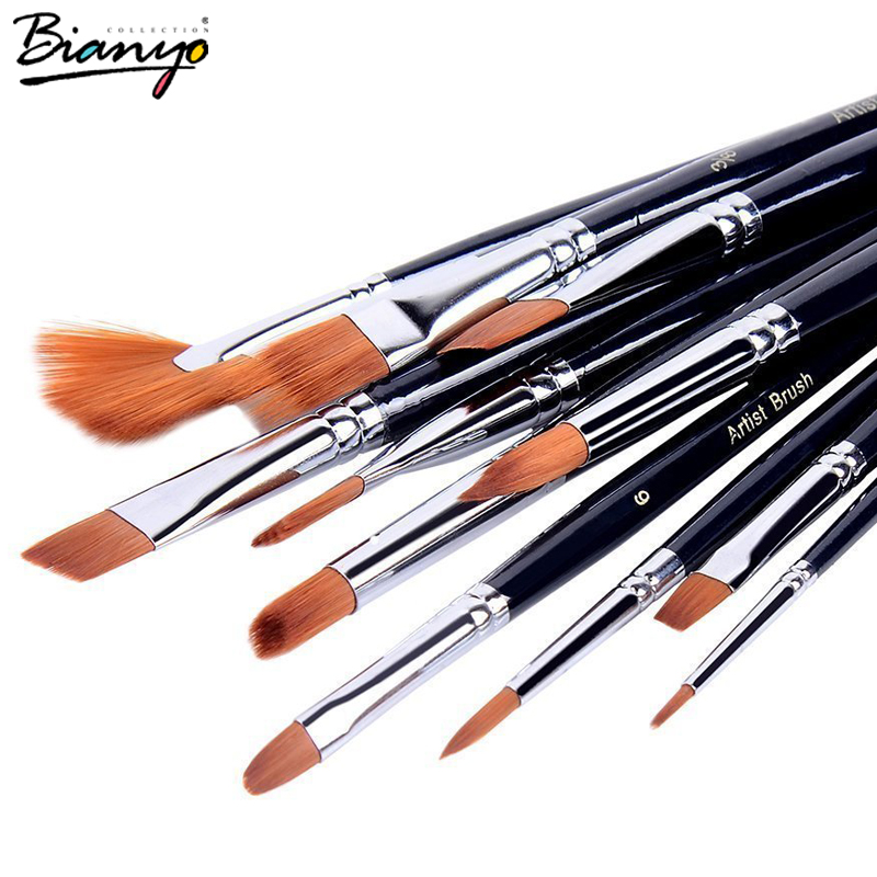 Bianyo 12Pcs Different Shape Nylon Hair Watercolor Paint Brush Set For School Student Gifts Acrylic Drawing Brushes Art Supplies 14pcs different shape acrylic oil painting brush suit wooden handle brushes drawing tool paint pen with bag art supplies