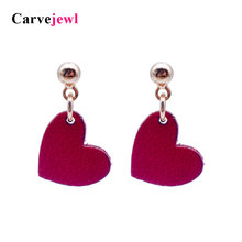 Carvejewl post Earrings cute heart pendant Drop Dangle Earrings For Women jewelry girl gift new fashion lovely korean earrings цена и фото