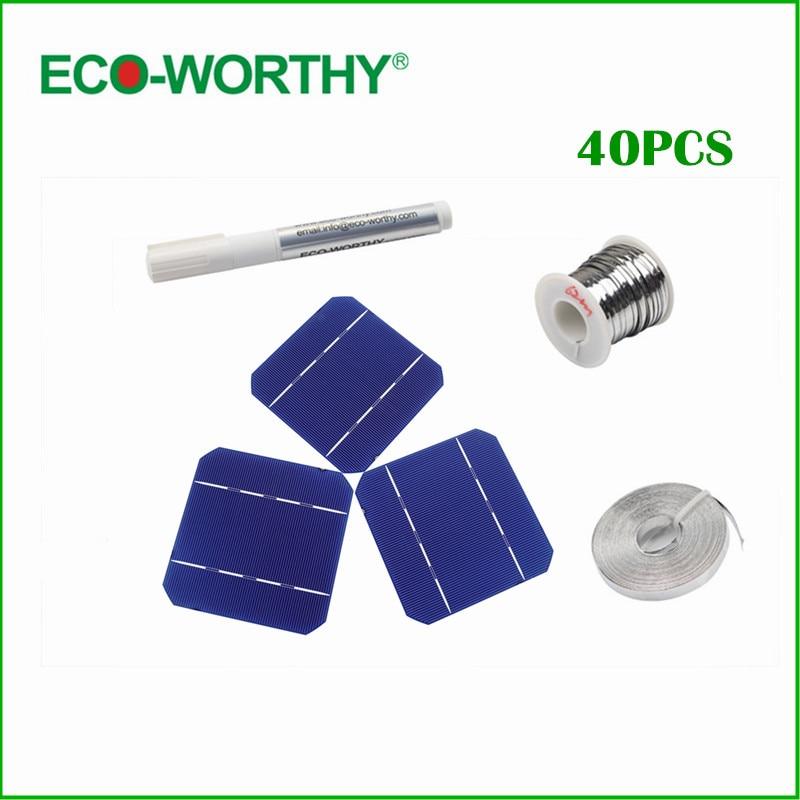 40pcs 125 x 125MM Mono Solar Cells kit 5x5 Grade A monocrystalli Solar Cell Flux Pen Tab Wire Bus Wire for DIY 100W Solar Panel